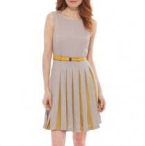 belted-pleated-cocktail-dress