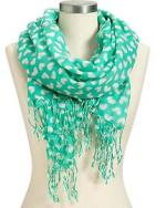 Women's Gauze Heart-Print Scarves - Soft Jade